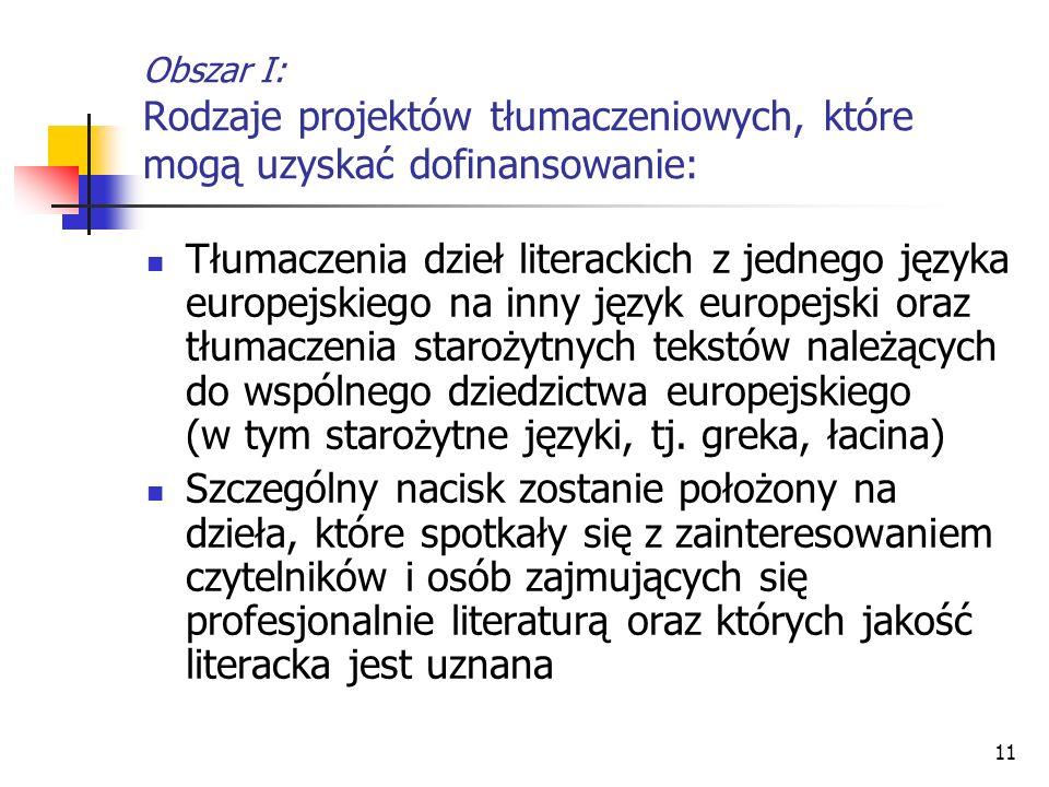 Obszar I: Rodzaje projektów tłumaczeniowych, które mogą uzyskać dofinansowanie: