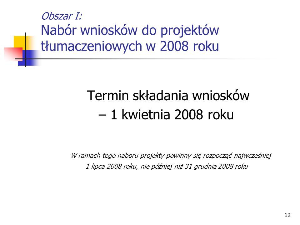 Obszar I: Nabór wniosków do projektów tłumaczeniowych w 2008 roku
