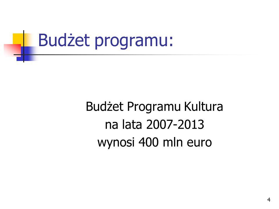Budżet Programu Kultura