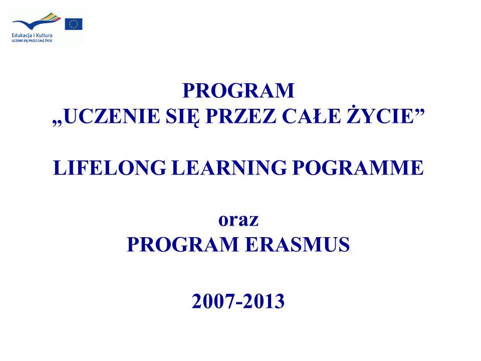 """PROGRAM """"UCZENIE SIĘ PRZEZ CAŁE ŻYCIE LIFELONG LEARNING POGRAMME oraz PROGRAM ERASMUS 2007-2013"""