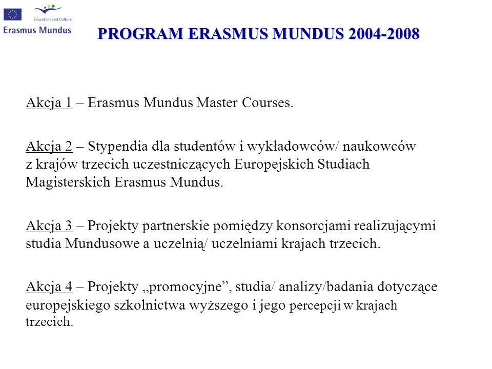 PROGRAM ERASMUS MUNDUS 2004-2008