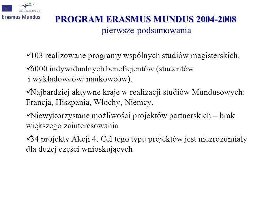 PROGRAM ERASMUS MUNDUS 2004-2008 pierwsze podsumowania