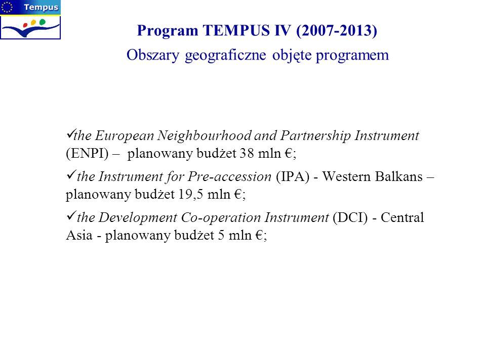 Program TEMPUS IV (2007-2013) Obszary geograficzne objęte programem