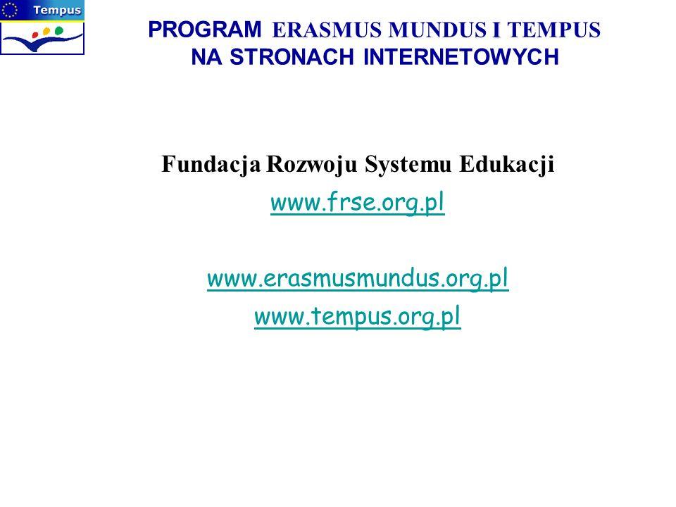 PROGRAM ERASMUS MUNDUS I TEMPUS NA STRONACH INTERNETOWYCH
