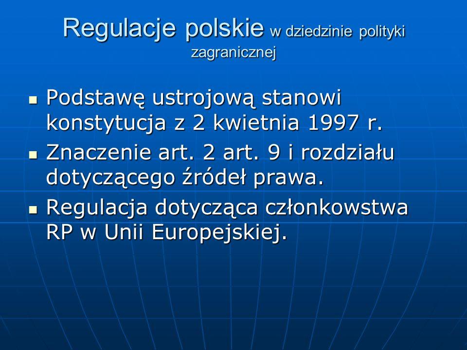 Regulacje polskie w dziedzinie polityki zagranicznej