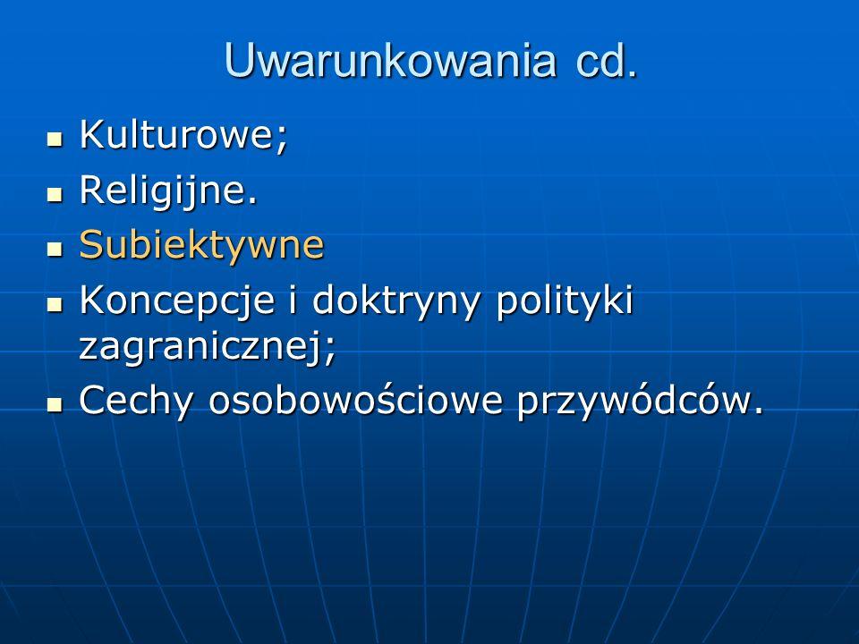 Uwarunkowania cd. Kulturowe; Religijne. Subiektywne