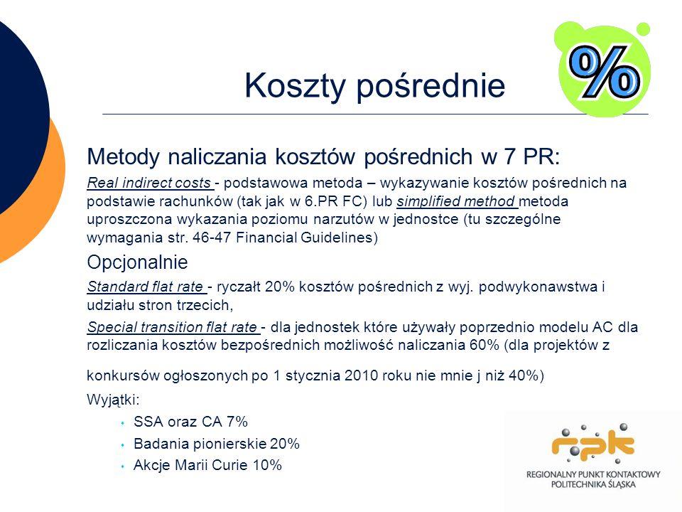 Koszty pośrednie Metody naliczania kosztów pośrednich w 7 PR: