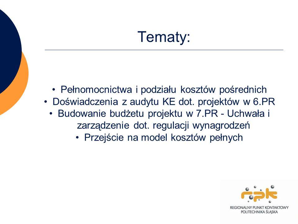 Tematy: Pełnomocnictwa i podziału kosztów pośrednich