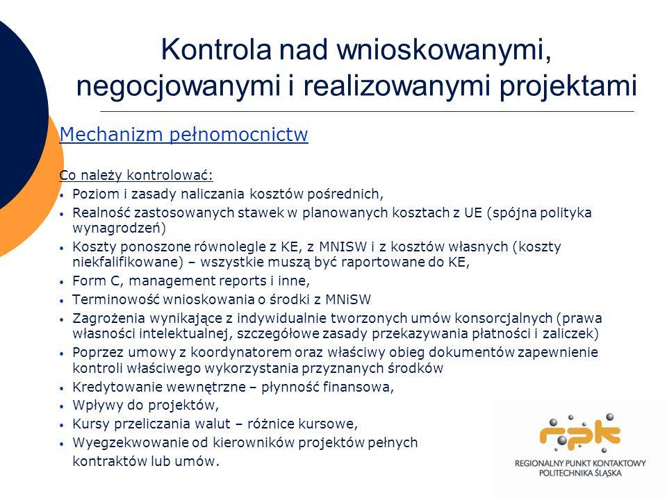 Kontrola nad wnioskowanymi, negocjowanymi i realizowanymi projektami