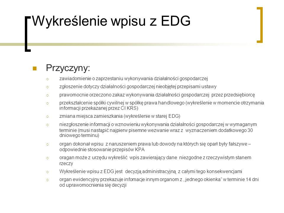 Wykreślenie wpisu z EDG