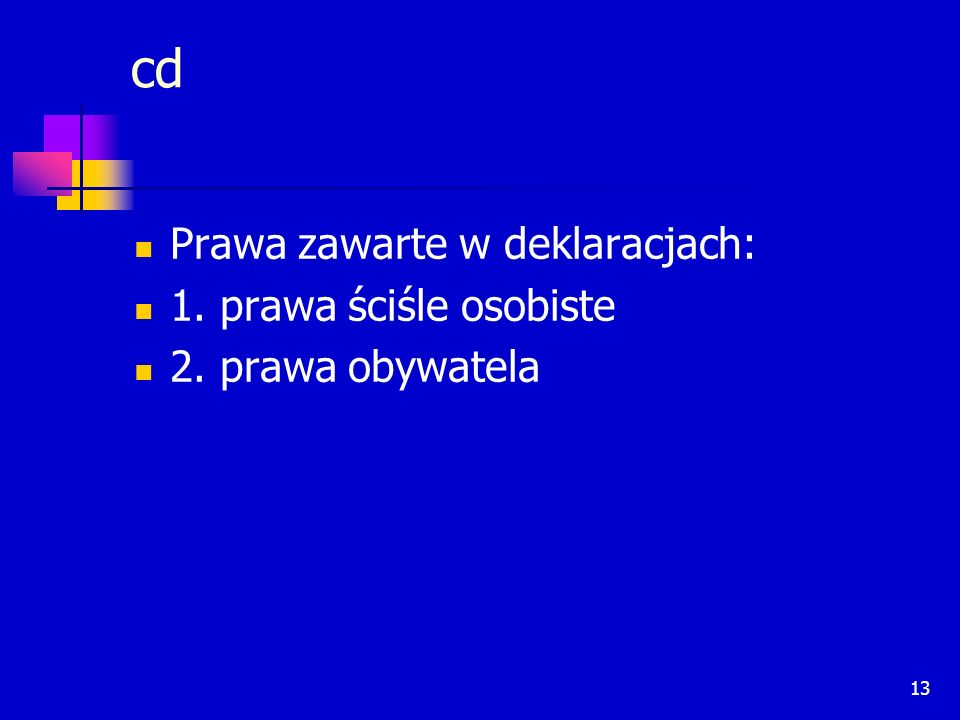 cd Prawa zawarte w deklaracjach: 1. prawa ściśle osobiste