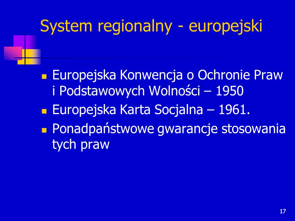 System regionalny - europejski