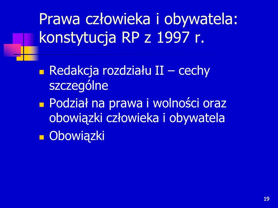 Prawa człowieka i obywatela: konstytucja RP z 1997 r.