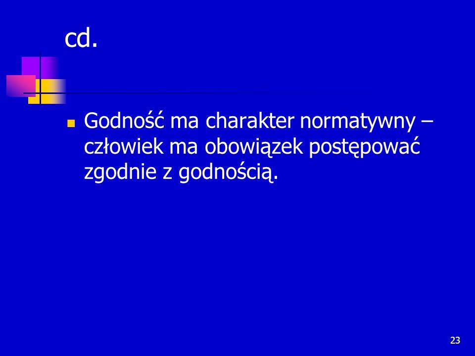 cd. Godność ma charakter normatywny – człowiek ma obowiązek postępować zgodnie z godnością.