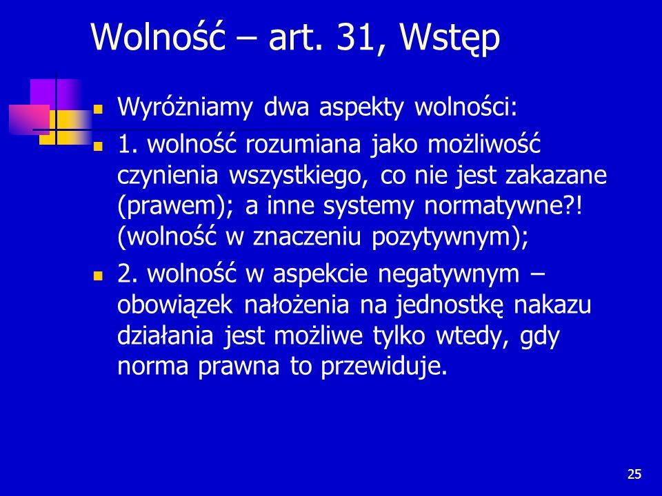 Wolność – art. 31, Wstęp Wyróżniamy dwa aspekty wolności: