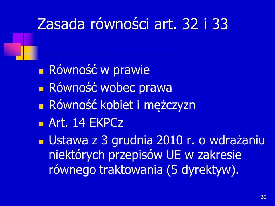 Zasada równości art. 32 i 33 Równość w prawie Równość wobec prawa