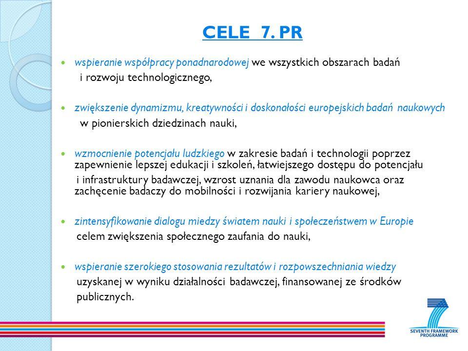 CELE 7. PR wspieranie współpracy ponadnarodowej we wszystkich obszarach badań. i rozwoju technologicznego,