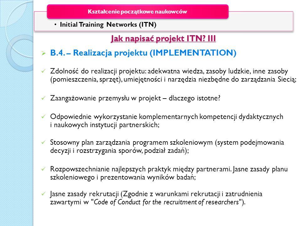 Jak napisać projekt ITN III
