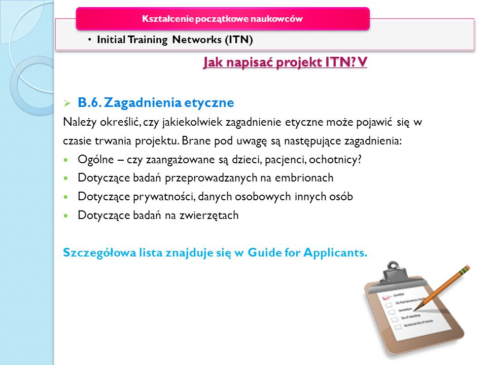 Jak napisać projekt ITN V