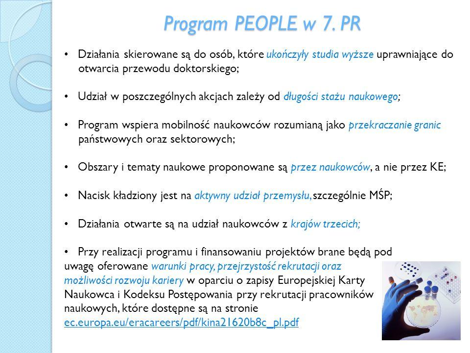 Program PEOPLE w 7. PR • Działania skierowane są do osób, które ukończyły studia wyższe uprawniające do otwarcia przewodu doktorskiego;