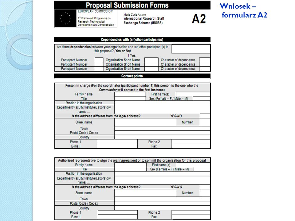 Wniosek – formularz A2