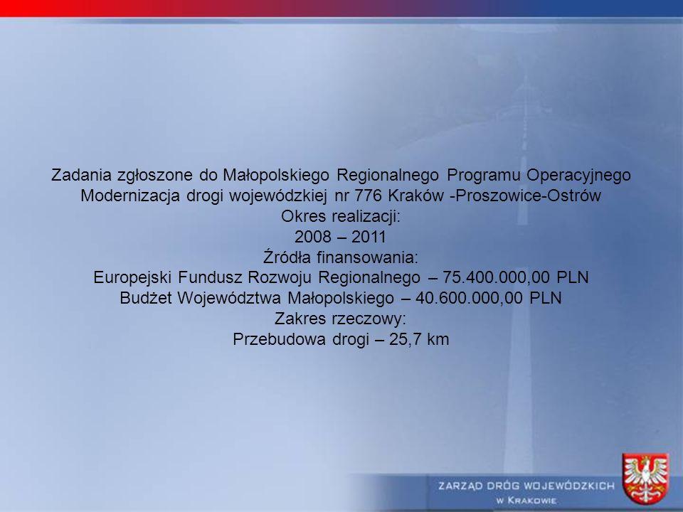 Zadania zgłoszone do Małopolskiego Regionalnego Programu Operacyjnego