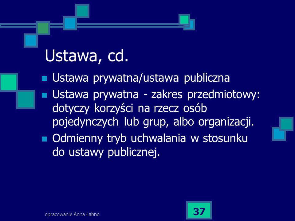 Ustawa, cd. Ustawa prywatna/ustawa publiczna