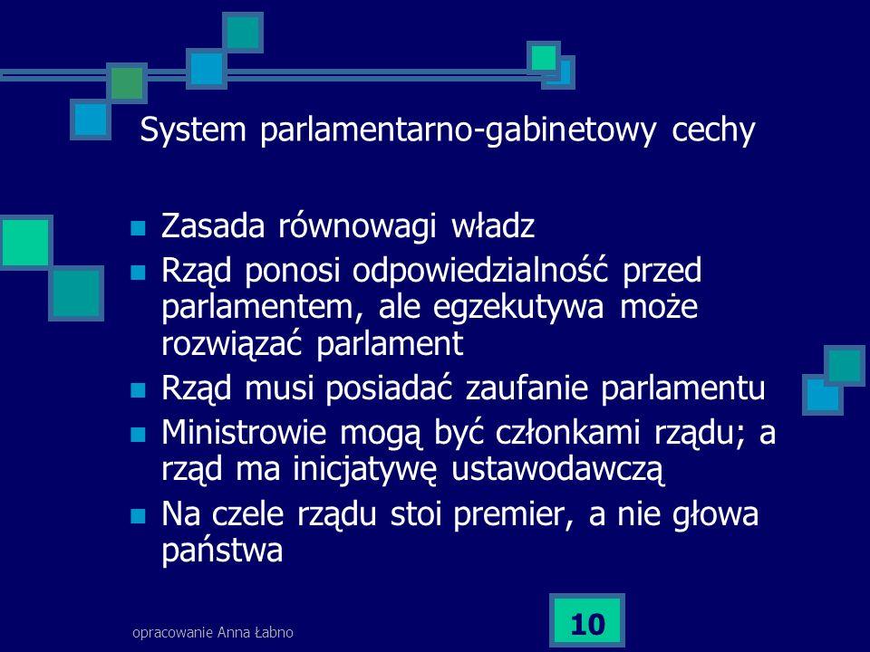 System parlamentarno-gabinetowy cechy