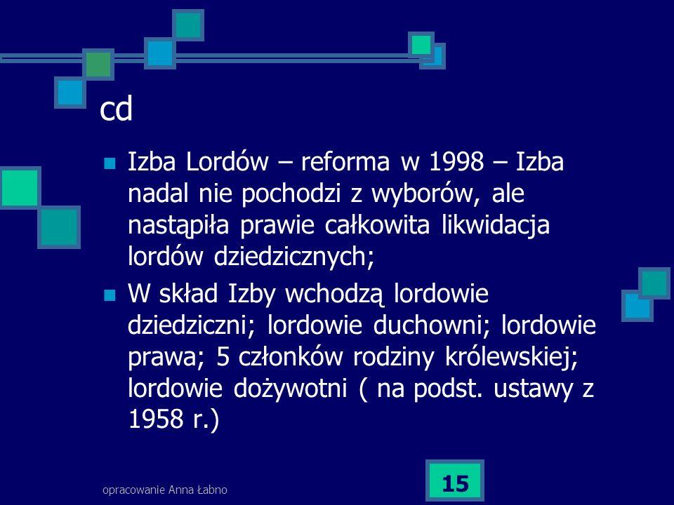 cd Izba Lordów – reforma w 1998 – Izba nadal nie pochodzi z wyborów, ale nastąpiła prawie całkowita likwidacja lordów dziedzicznych;