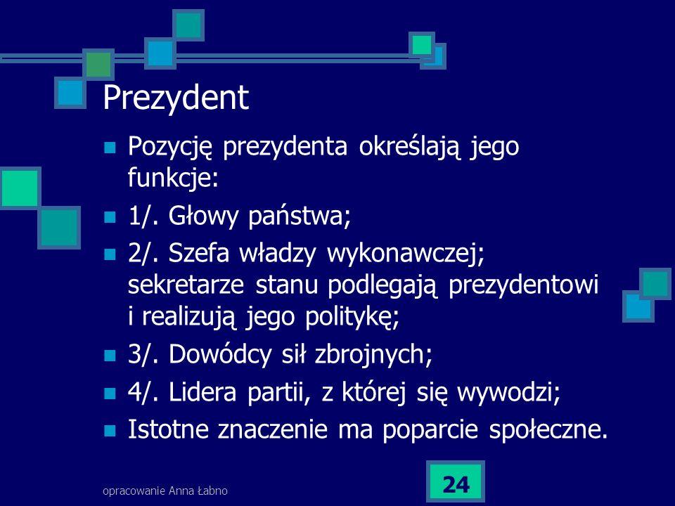 Prezydent Pozycję prezydenta określają jego funkcje: