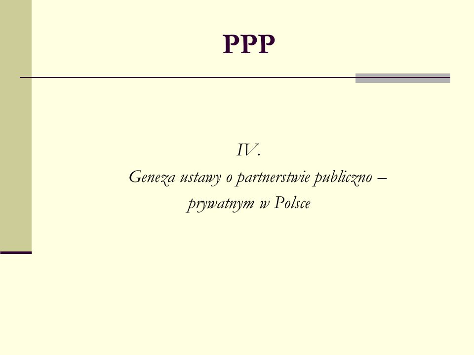 Geneza ustawy o partnerstwie publiczno –