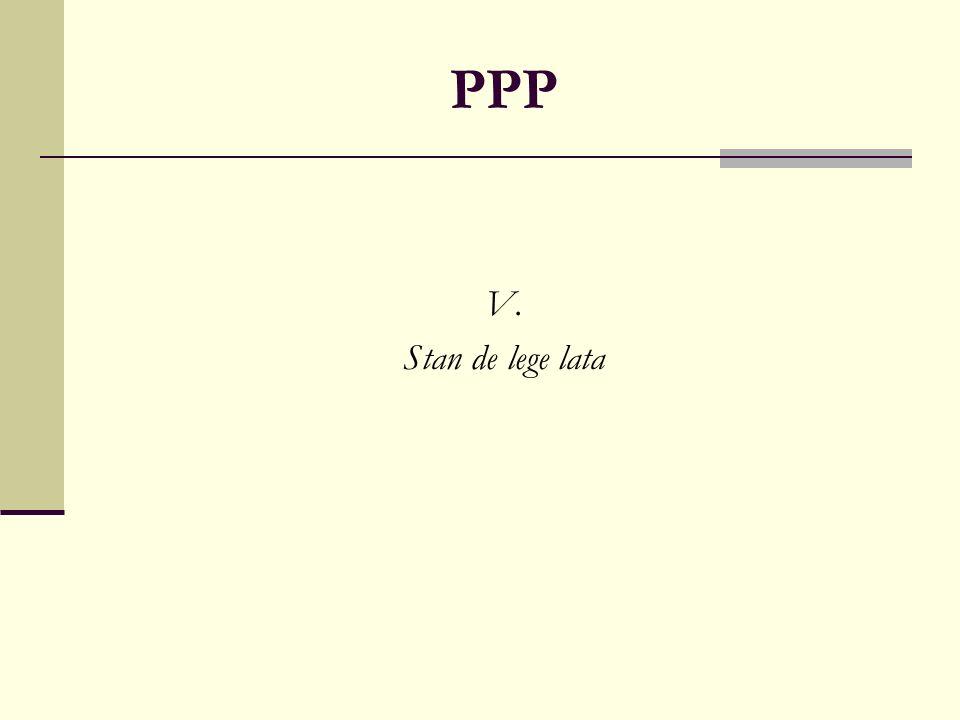 PPP V. Stan de lege lata