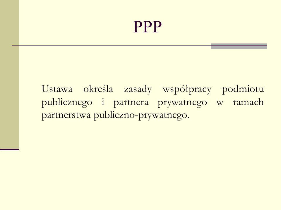 PPPUstawa określa zasady współpracy podmiotu publicznego i partnera prywatnego w ramach partnerstwa publiczno-prywatnego.