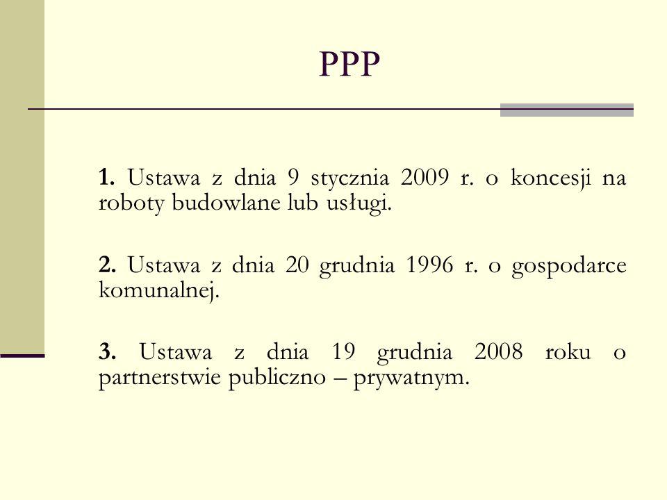 PPP 1. Ustawa z dnia 9 stycznia 2009 r. o koncesji na roboty budowlane lub usługi. 2. Ustawa z dnia 20 grudnia 1996 r. o gospodarce komunalnej.