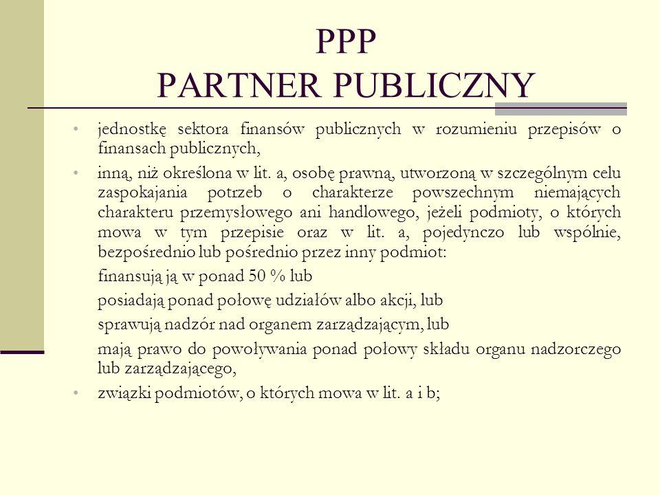PPP PARTNER PUBLICZNY jednostkę sektora finansów publicznych w rozumieniu przepisów o finansach publicznych,