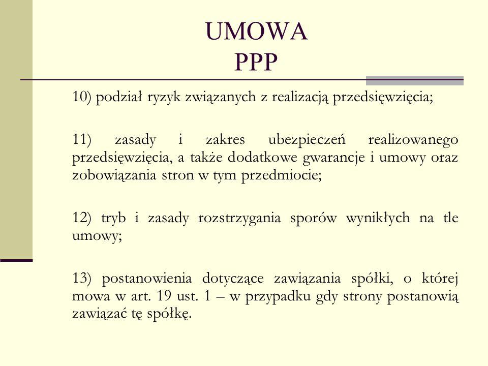 UMOWA PPP 10) podział ryzyk związanych z realizacją przedsięwzięcia;
