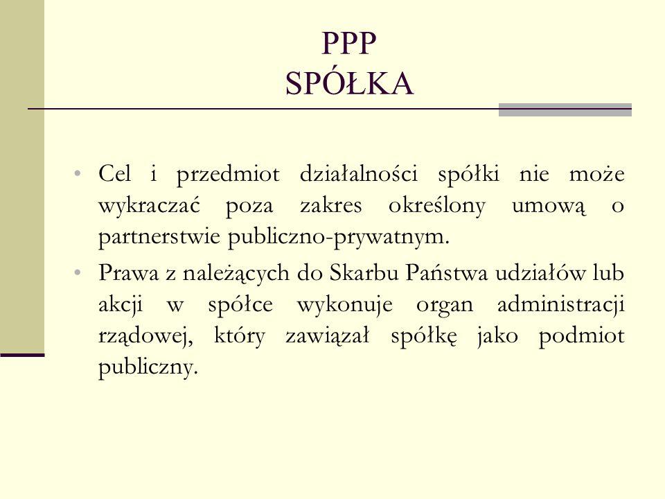 PPP SPÓŁKA Cel i przedmiot działalności spółki nie może wykraczać poza zakres określony umową o partnerstwie publiczno-prywatnym.