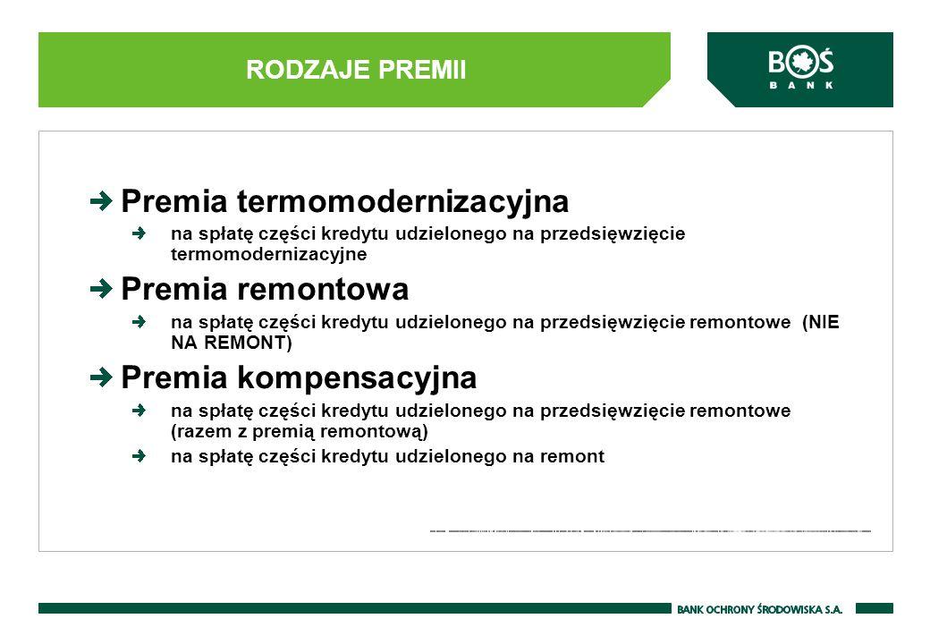 Premia termomodernizacyjna Premia remontowa Premia kompensacyjna