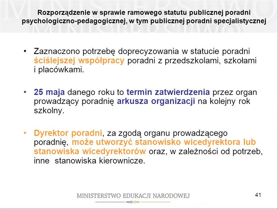 Rozporządzenie w sprawie ramowego statutu publicznej poradni psychologiczno-pedagogicznej, w tym publicznej poradni specjalistycznej