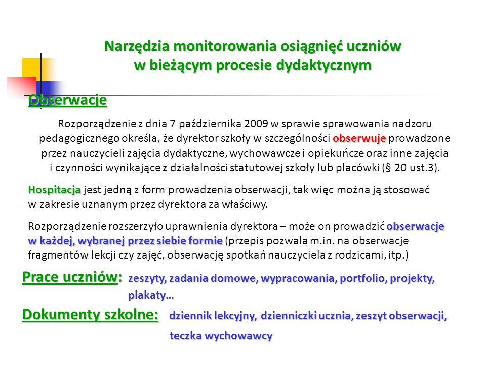 Narzędzia monitorowania osiągnięć uczniów w bieżącym procesie dydaktycznym