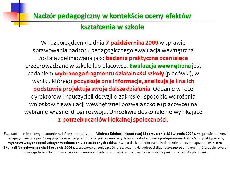 Nadzór pedagogiczny w kontekście oceny efektów