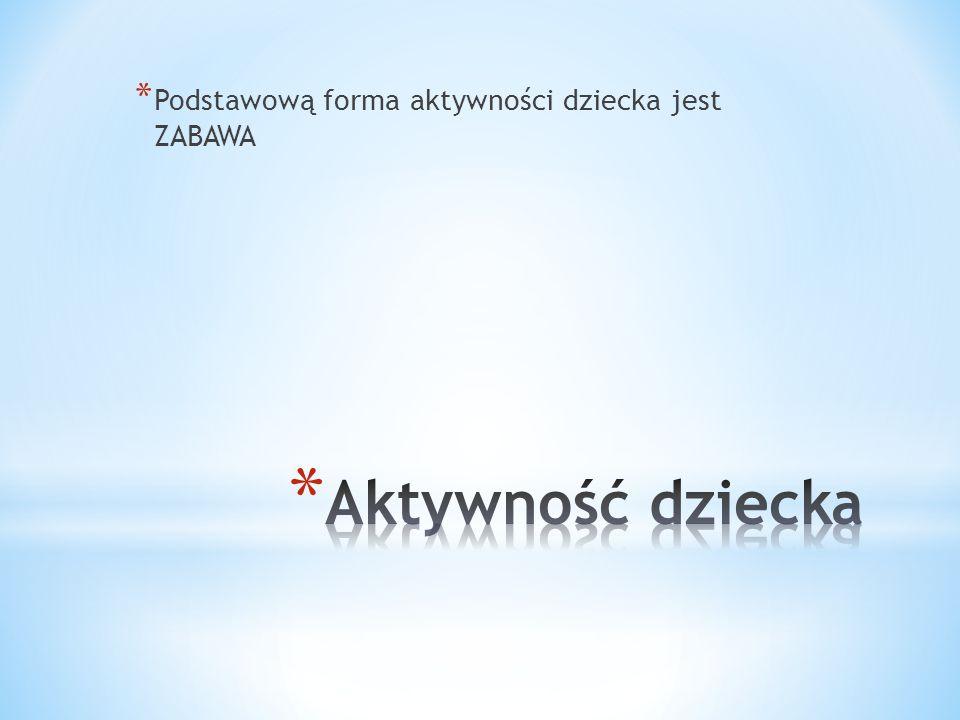 Podstawową forma aktywności dziecka jest ZABAWA