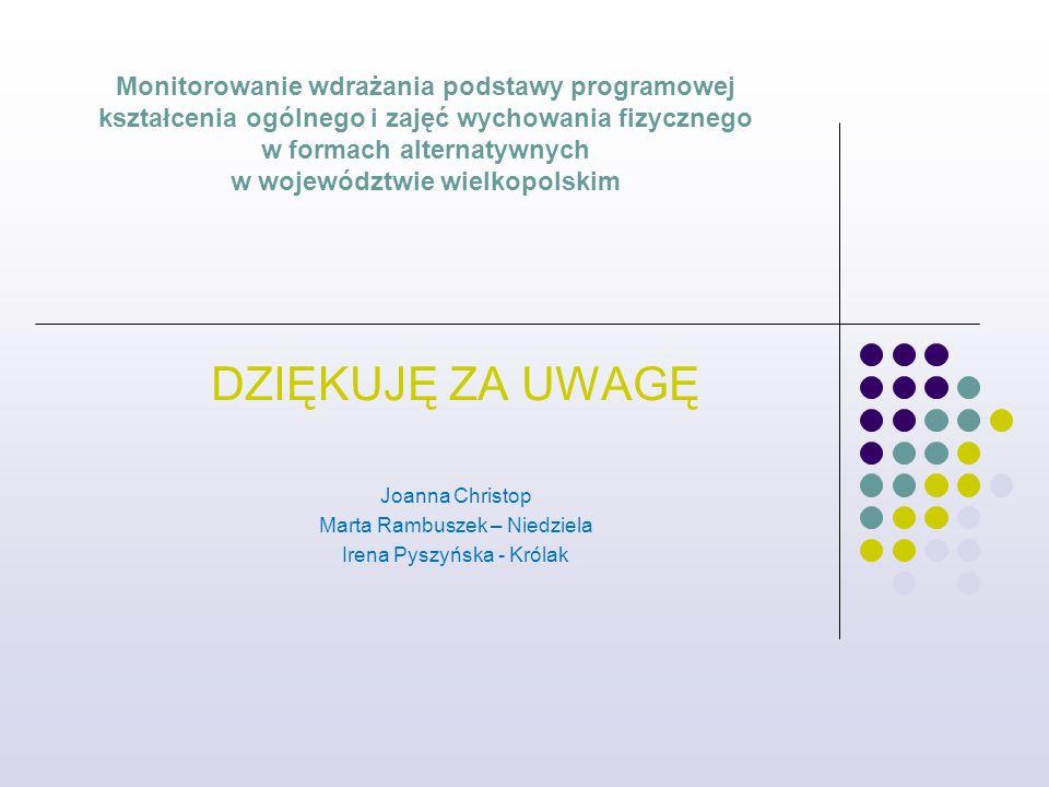 Monitorowanie wdrażania podstawy programowej kształcenia ogólnego i zajęć wychowania fizycznego w formach alternatywnych w województwie wielkopolskim