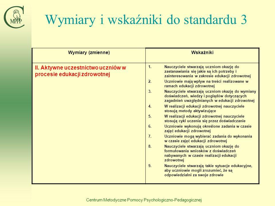Wymiary i wskaźniki do standardu 3