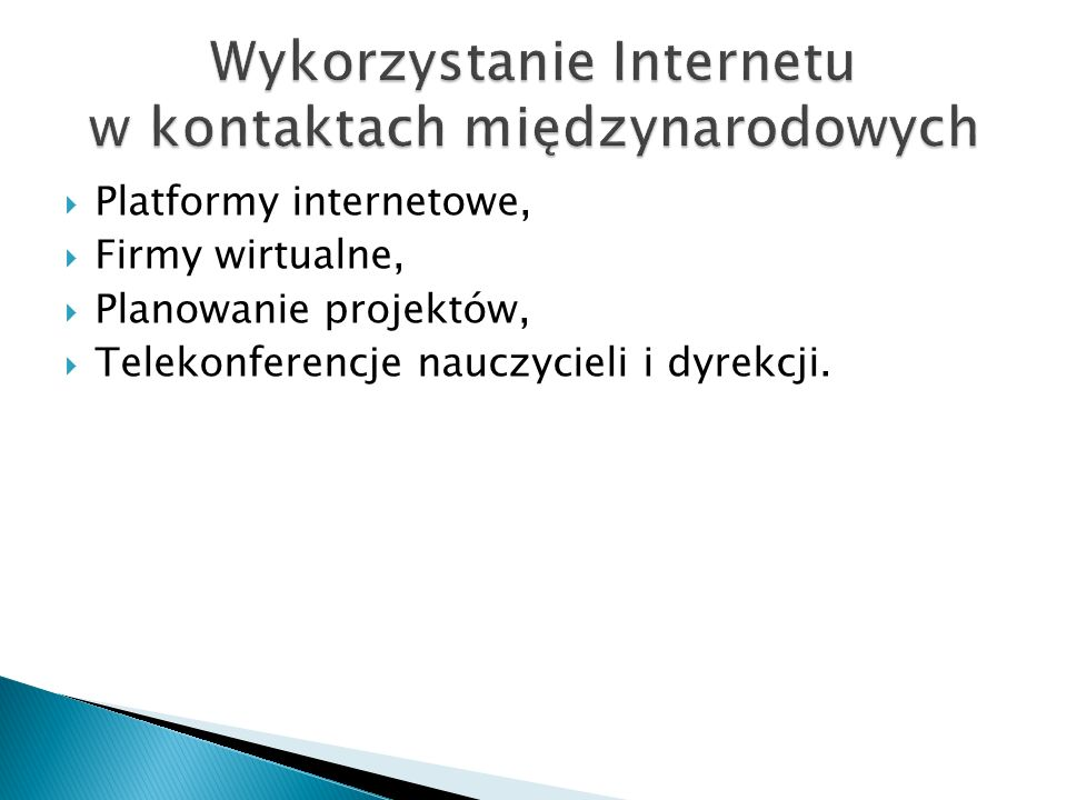 Wykorzystanie Internetu w kontaktach międzynarodowych