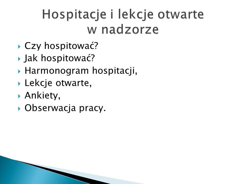 Hospitacje i lekcje otwarte w nadzorze