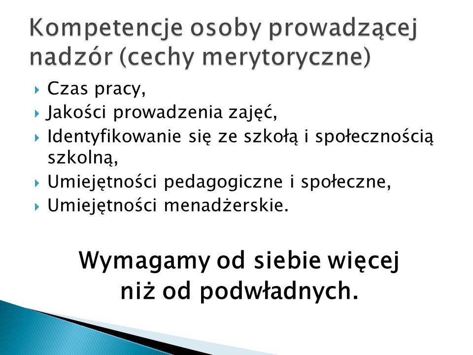 Kompetencje osoby prowadzącej nadzór (cechy merytoryczne)