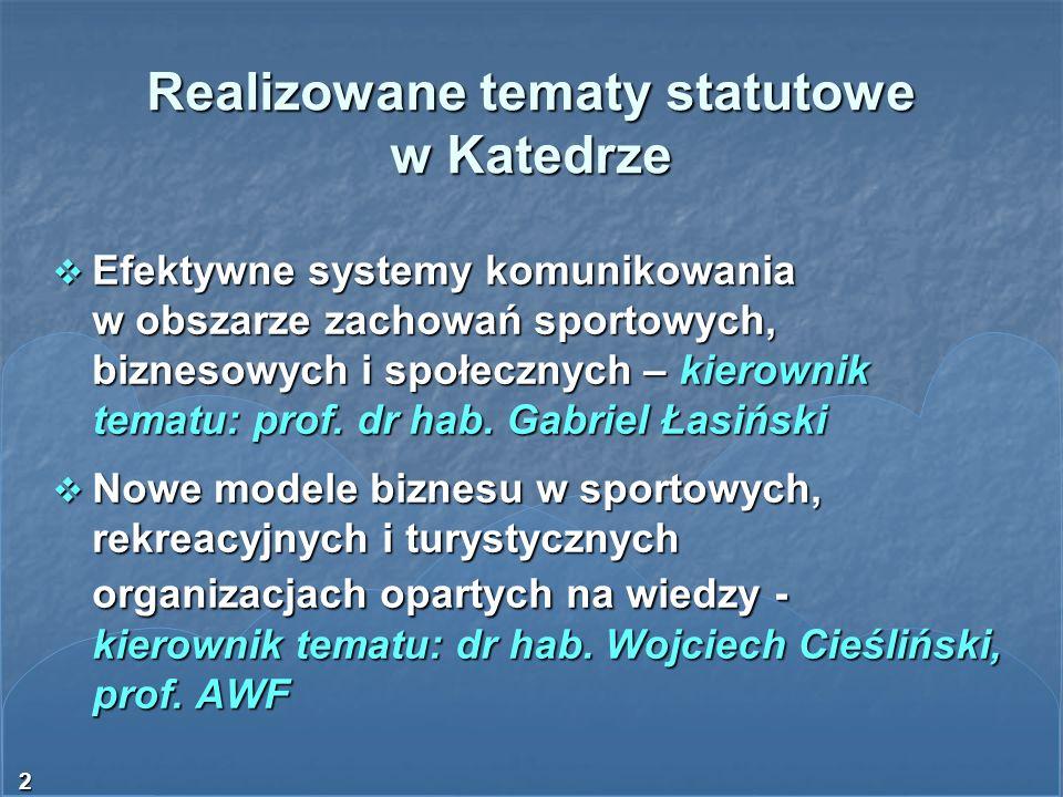 Realizowane tematy statutowe w Katedrze