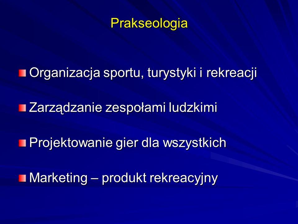 Prakseologia Organizacja sportu, turystyki i rekreacji. Zarządzanie zespołami ludzkimi. Projektowanie gier dla wszystkich.