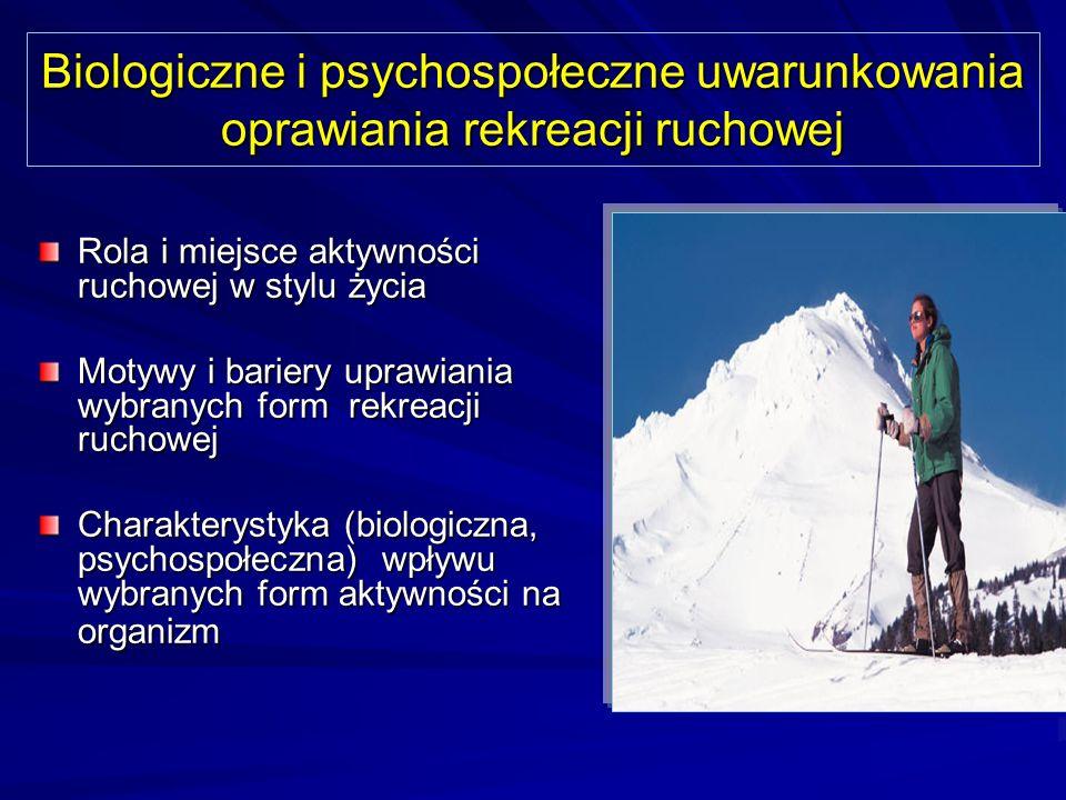 Biologiczne i psychospołeczne uwarunkowania oprawiania rekreacji ruchowej
